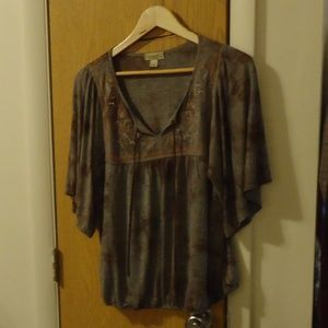 Patterned droop blouse